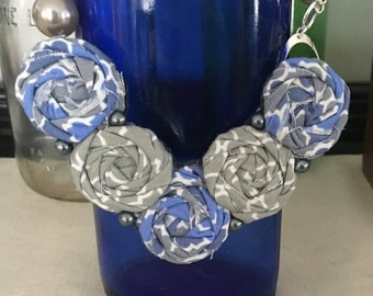 Blue, White and Grey Fabric Flower Statement Necklace, Bib Necklace, Rolled Rosette Statement Necklace, Summer Fashion