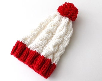 Womens Pom pom Hat Slouchy Beanie Slouch Beanie Red and White Beanie Hat Knitted Hat