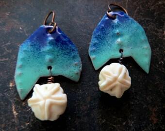 Blue enamel earrings, enamel earrings, blue, aqua earrings, dangle earrings, asymmetrical earrings Vintajia AdornmentsVintajia Adornments
