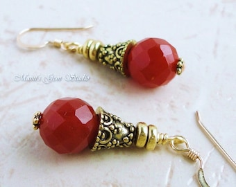 Faceted Carnelian Gemstone Earrings with 14K gold filled Earwires, Antiqued Brass, Handcrafted