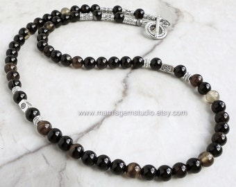 Black Agate Stone Men's Beaded Necklace, Handcrafted Jewelry for Men, Guys, Dad, Him