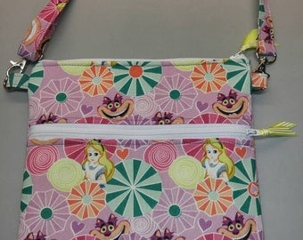 Alice in Wonderland purse, messenger/cross body bag handmade