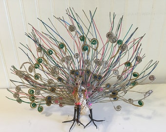 Folk art tramp art Wire peacock, Vintage Peacock, Handmade Peacock at A Vintage Revolution
