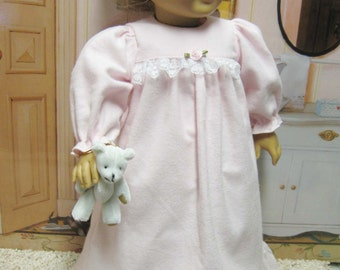Pastel Pink Flannel Nightgown for American Girl Doll