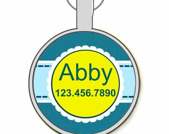 Blue and Yellow Flower  Silver Custom Personalized Dog ID Pet Tag Custom Pet Tag You Choose Tag Size & Colors
