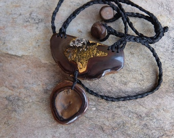 Artisan Boulder opal necklace - primal earthy jewelry handmade in Australia by NaturesArtMelbourne - gaia jewellery