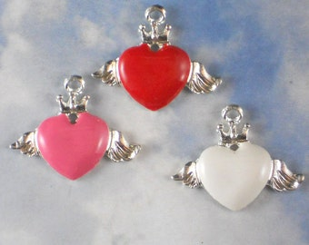 3 Winged Heart Charms Enamel & Silver Tone Metal Mixed Color Pink Red White (P1961)