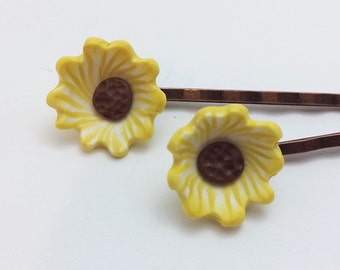 Sunflower Bobby Pins, Yellow Polymer Clay Hair Accessories