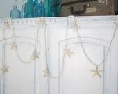 Beach Decor White Nassa Seashell Starfish Garland - Nautical Shell & White Starfish Garland, 7FT