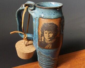 Stoneware Travel Mug With Cork ~ Bob Dylan Design ~