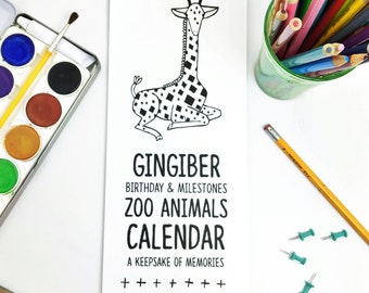Zoo Animal Birthday Calendar, Zoo Baby Calendar, Baby Milestone Calendar, Gifts For Baby, Gifts Under 25, Perpetual Calendar, Black & White