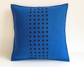 Felt Pillow in blue Felt, Brown Felt Pillow, Contemporary Felt Pillow, 100 Percent Wool Felt Pillow -- Free US Shipping