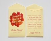 Custom Yellow Lottery Ticket Wedding Favor Packet Envelopes - Many Colors Available