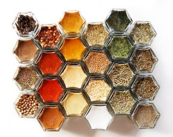 New Home & Housewarming Gift // Pantry Spice Kit: 24 Organic Spices in Hand-Stamped Hexagon Glass Spice Jars.