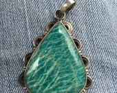 ON SALE Vintage Native American Sterling Silver Turquoise Pendant