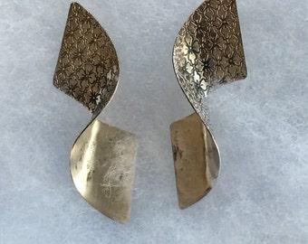 Vintage Sterling Silver Modernist Drop Earrings
