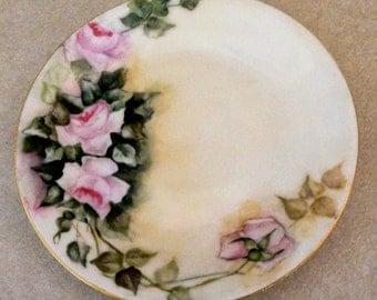 Vintage Limoges Plate Hand Painted Pink Roses Green Leaves Stems 1900s
