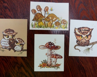 Vintage Owl Mushroom Cards Craft Cards Decoupage Scrapbooking Set of Four 1970s