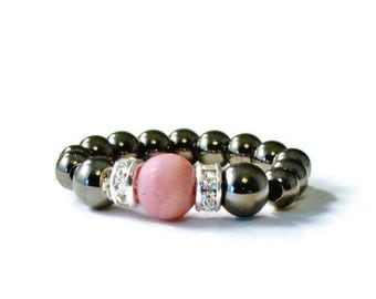 Frosted Rhodochrosite Magnetic Bead Ring