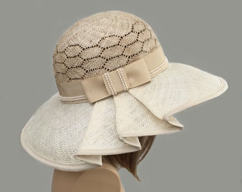 Kentucky Derby hat, Claire, beautiful straw hat with draped pleating on the side, womens, two tone straw hat