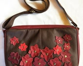 Floral Messenger, women crossbody purse, everyday bag, brown leather messenger bag, women red floral leather messenger, spring fashion