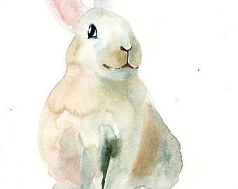 BUNNY Original watercolor painting 8x10inch(Vertical orientation)