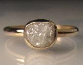 Raw Diamond Engagement Ring, White Raw Diamond Ring,  Recycled 14k Yellow Gold Rough Diamond Ring , 2.10 Carats