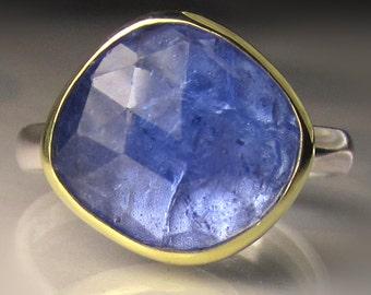 Rose Cut Tanzanite Ring, 18k Gold and Sterling Silver Tanzanite Cocktail Ring