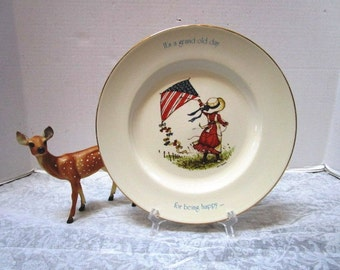 VINTAGE Holly Hobbie Freedom Series Bicentennial Plate, Red White Blue Kite / Grand Old Flag Day Be Happy Patriotic 4th of July Memorial Day