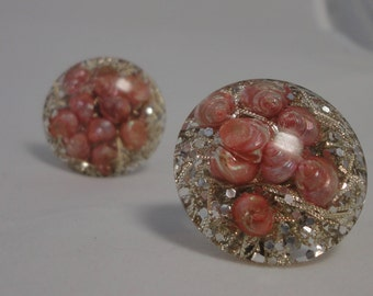 Gorgeous Vintage Pink Seashells, Silver and Gold Confetti Earrings.