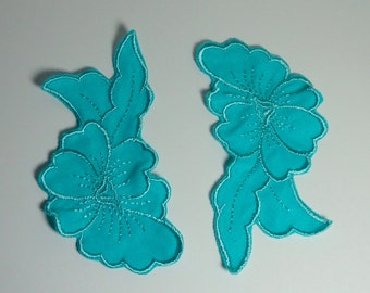 Vintage Aqua Blue Flower and Leaves Appliqué Set of 2