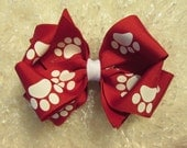 Girls Large Hairbow Double Boutique Red with White Paw Hair Bow