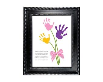 Flowers pink Bow Child's Handprint Art project - Digital - editable text