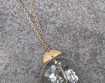 Large pyrite cluster necklace