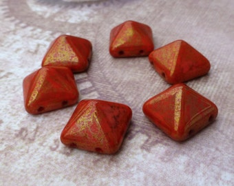 free UK postage - Pyramid Stud 12mm Two Hole Beads Coral Lumi Pecan 12 Beads