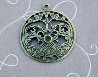 6 pcs Antique Bronze round pendant