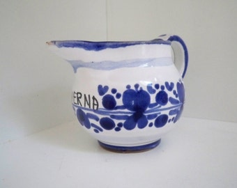Vintage Collectible Ceramic Miniature Verna Pitcher Blue and White Hallmarked Italy