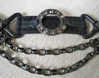 Vintage Accessory Women's Black Chain Rhinestone Designer Belt Ames by Streets Ahead Size Small
