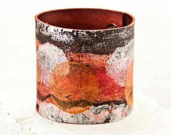 Gypsy Leather Cuffs Bohemian Jewelry - Colorful Boho Bracelets Wristbands - Painted Bracelet