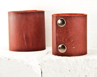 Leathercraft Supplies Cuff Bracelet Wristband Blank Red Leather