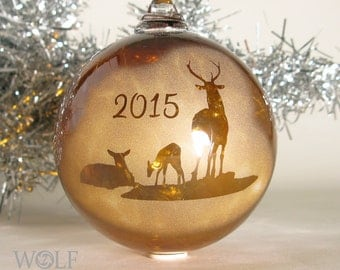 Blown Glass Christmas Ornament Amber Brown Deer Family 2015