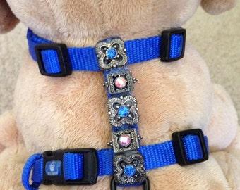 SWAROVSKI CRYSTAL BLUE adjustable dog harness, size xsmall