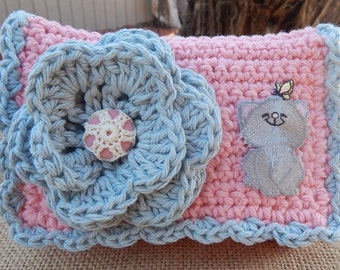 Crocheted Purse  ~  Misty Gray and Pink with Gray Kitten Crocheted Cotton Little Bit Purse  ~  Bubble Gum Style Purse