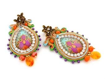 bead embroidered orange green earrings , statement chandelier colorful earrings , pantone green flash & fiesta palette colors -  Byzantine
