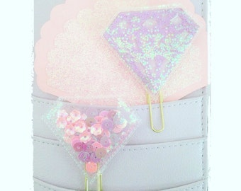 Shaker clip diamond glitter pink purple lilac for planner agenda deco