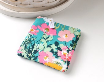 Pink and Teal Floral Coin Purse Floral Change Purse Floral Gift Card Holder