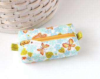 Small Boxy Pouch Butterfly Coin Purse Colorful Floral Change Purse Zipper Pouch