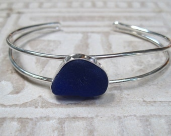 Sea Glass Bangle Bracelet - Cobalt Blue Sea Glass and Sterling Bangle