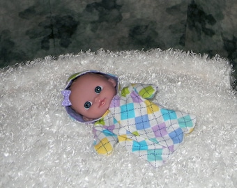 8LCHS-39) 8 inch Lil Cutesie Berenguer baby doll clothes, 1 flannel hooded sleeper with panties