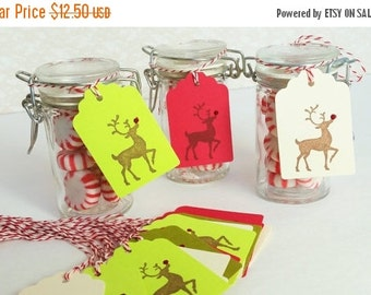 SALE 35 Christmas Gift Tags Rudolph North Pole Winter Holiday Deer Favor Tags Santas Helper Bakers Twine